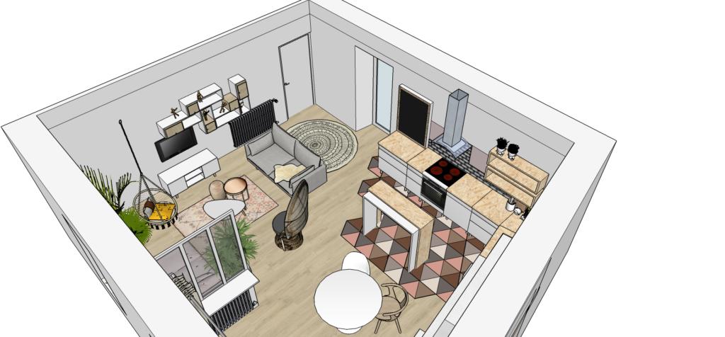 aménagement intérieur d'une pièce à vivre